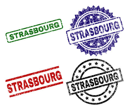 STRASBOURG seal prints with corroded texture. Black, green,red,blue vector rubber prints of STRASBOURG label with dirty texture. Rubber seals with circle, rectangle, medallion shapes.