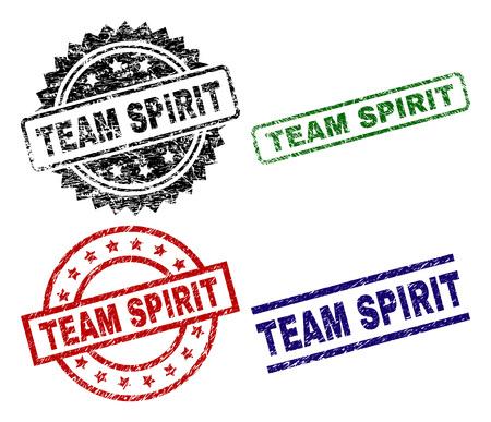 Le sceau TEAM SPIRIT est imprimé avec un style détresse. Impressions en caoutchouc de vecteur noir, vert, rouge, bleu de l'étiquette TEAM SPIRIT avec style de poussière. Joints en caoutchouc avec des formes de cercle, de rectangle, de médaillon.