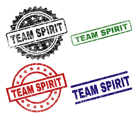 TEAM SPIRIT seal prints with distress style. Black, green,red,blue vector rubber prints of TEAM SPIRIT label with dust style. Rubber seals with circle, rectangle, medallion shapes.