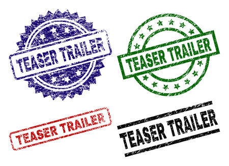 TEASER TRAILER seal prints with distress surface. Black, green,red,blue vector rubber prints of TEASER TRAILER text with grunge surface. Rubber seals with round, rectangle, medal shapes.