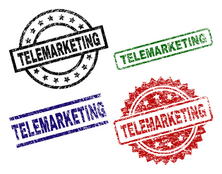 TELEMARKETING seal prints with distress texture. Black, green,red,blue vector rubber prints of TELEMARKETING tag with retro texture. Rubber seals with round, rectangle, rosette shapes.