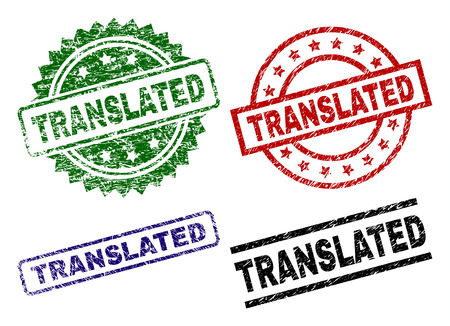 TRANSLATED seal prints with damaged surface. Black, green,red,blue vector rubber prints of TRANSLATED tag with dirty surface. Rubber seals with round, rectangle, rosette shapes.