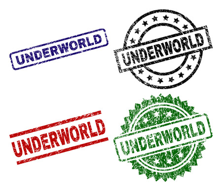 UNDERWORLD seal prints with damaged style. Black, green,red,blue vector rubber prints of UNDERWORLD caption with scratched style. Rubber seals with circle, rectangle, medallion shapes. Foto de archivo - 108029163
