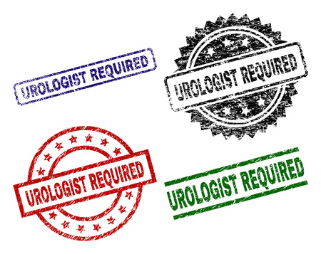 UROLOGIST REQUIRED seal prints with corroded surface. Black, green,red,blue vector rubber prints of UROLOGIST REQUIRED tag with unclean surface. Rubber seals with round, rectangle, medallion shapes.