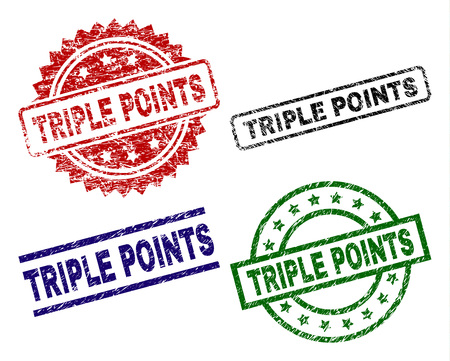 TRIPLE POINTS seal prints with damaged surface. Black, green,red,blue vector rubber prints of TRIPLE POINTS label with unclean surface. Rubber seals with circle, rectangle, medallion shapes.