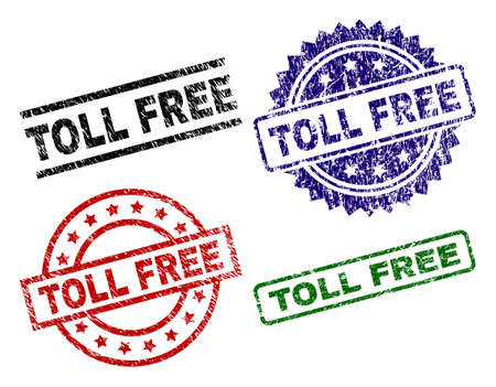 TOLL FREE seal prints with distress style. Black, green,red,blue vector rubber prints of TOLL FREE caption with grunge style. Rubber seals with circle, rectangle, medal shapes. 向量圖像