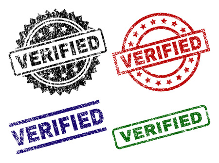 VERIFIED seal prints with corroded surface. Black, green,red,blue vector rubber prints of VERIFIED tag with corroded surface. Rubber seals with circle, rectangle, medallion shapes. Çizim