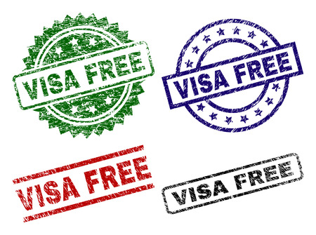 VISA FREE seal stamps with corroded surface. Black, green,red,blue vector rubber prints of VISA FREE tag with corroded surface. Rubber seals with circle, rectangle, medallion shapes. Illustration