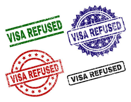 VISA REFUSED seal prints with distress surface. Black, green,red,blue vector rubber prints of VISA REFUSED caption with unclean texture. Rubber seals with circle, rectangle, medal shapes.