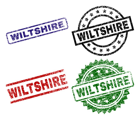 WILTSHIRE seal prints with damaged surface. Black, green,red,blue vector rubber prints of WILTSHIRE text with corroded surface. Rubber seals with circle, rectangle, rosette shapes.