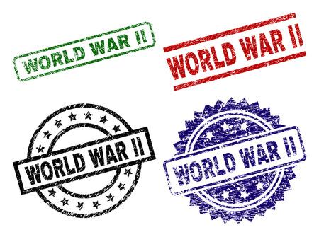 Impressions de sceaux de la Seconde Guerre mondiale avec une surface endommagée. Impressions en caoutchouc vectorielles noires, vertes, rouges et bleues de l'étiquette WORLD WAR II avec un style corrodé. Joints en caoutchouc aux formes rondes, rectangulaires, rosaces.
