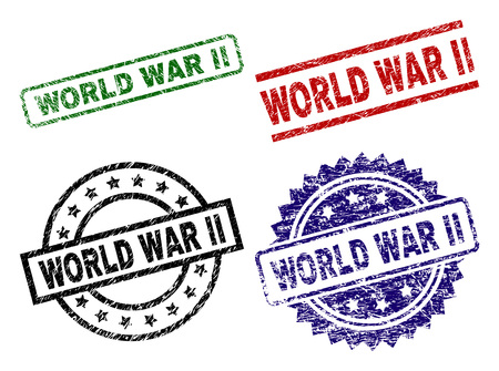 Nadruki pieczęci WORLD WAR II z uszkodzoną powierzchnią. Czarne, zielone, czerwone, niebieskie gumowe nadruki wektorowe etykiety WORLD WAR II w skorodowanym stylu. Uszczelki gumowe o kształcie okrągłym, prostokątnym, rozetowym.