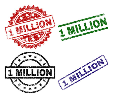 1 MILLION seal prints with corroded style. Black, green,red,blue vector rubber prints of 1 MILLION caption with scratched style. Rubber seals with circle, rectangle, medal shapes. Vector Illustration