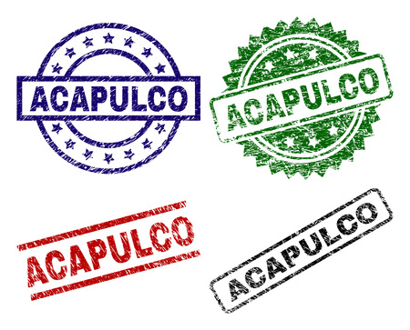 ACAPULCO seal imprints with corroded style. Black, green,red,blue vector rubber prints of ACAPULCO caption with dust style. Rubber seals with round, rectangle, rosette shapes. Illustration