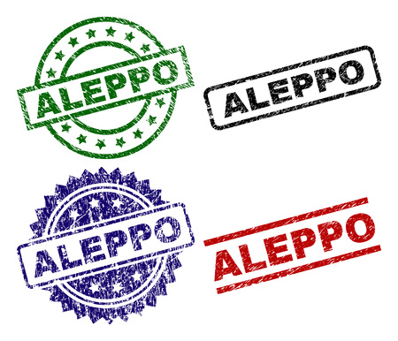 ALEPPO seal prints with corroded surface. Black, green,red,blue vector rubber prints of ALEPPO text with unclean surface. Rubber seals with circle, rectangle, medal shapes.