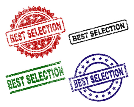 BEST SELECTION seal prints with distress surface. Black, green,red,blue vector rubber prints of BEST SELECTION title with unclean surface. Rubber seals with circle, rectangle, medallion shapes. Ilustración de vector