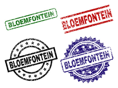 BLOEMFONTEIN seal stamps with distress texture. Black, green,red,blue vector rubber prints of BLOEMFONTEIN text with scratched texture. Rubber seals with circle, rectangle, medallion shapes.