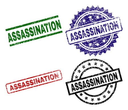 ASSASSINATION seal prints with corroded style. Black, green,red,blue vector rubber prints of ASSASSINATION caption with unclean texture. Rubber seals with circle, rectangle, medal shapes.