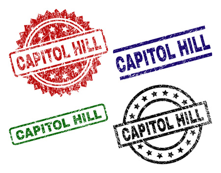 CAPITOL HILL seal stamps with corroded texture. Black, green,red,blue vector rubber prints of CAPITOL HILL title with corroded texture. Rubber seals with circle, rectangle, medallion shapes.