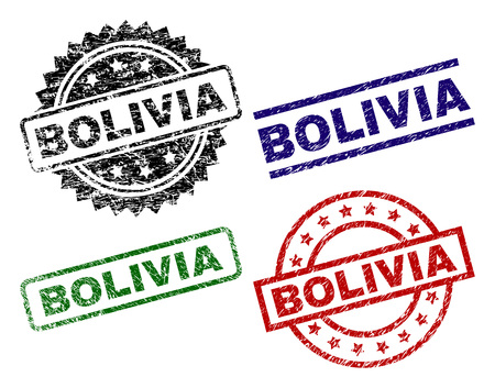 BOLIVIA seal prints with distress surface. Black, green,red,blue vector rubber prints of BOLIVIA label with scratched surface. Rubber seals with round, rectangle, medal shapes.  イラスト・ベクター素材