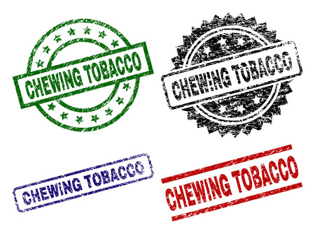 CHEWING TOBACCO seal prints with corroded texture. Black, green,red,blue vector rubber prints of CHEWING TOBACCO title with dust texture. Rubber seals with circle, rectangle, rosette shapes.