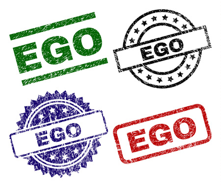 EGO seal prints with corroded style. Black, green,red,blue vector rubber prints of EGO tag with dirty style. Rubber seals with circle, rectangle, medal shapes.