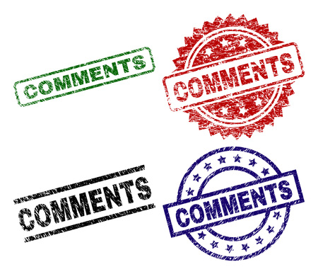 COMMENTS seal prints with damaged texture. Black, green,red,blue vector rubber prints of COMMENTS title with unclean texture. Rubber seals with circle, rectangle, rosette shapes.