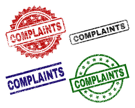 COMPLAINTS seal prints with corroded style. Black, green,red,blue vector rubber prints of COMPLAINTS tag with grunge style. Rubber seals with round, rectangle, medallion shapes.