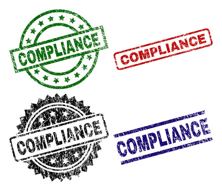 COMPLIANCE seal prints with distress surface. Black, green,red,blue vector rubber prints of COMPLIANCE title with corroded surface. Rubber seals with round, rectangle, rosette shapes.