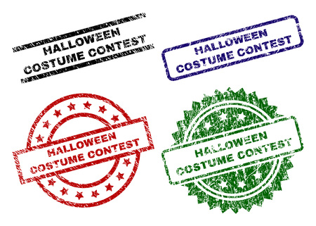 HALLOWEEN COSTUME CONTEST seal prints with distress texture. Black, green,red,blue vector rubber prints of HALLOWEEN COSTUME CONTEST tag with corroded texture. Rubber seals with round, rectangle,