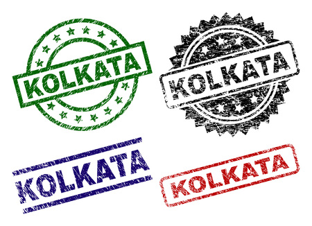 KOLKATA seal prints with distress texture. Black, green,red,blue vector rubber prints of KOLKATA label with dust surface. Rubber seals with round, rectangle, medal shapes. Illustration