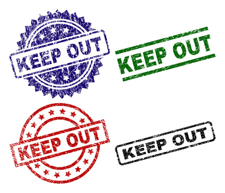 KEEP OUT seal prints with corroded surface. Black, green,red,blue vector rubber prints of KEEP OUT tag with scratched surface. Rubber seals with round, rectangle, medallion shapes. Illustration