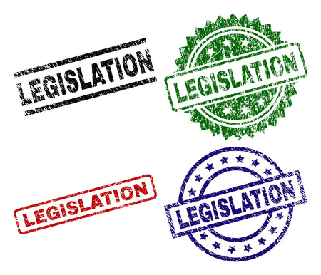 LEGISLATION seal prints with corroded surface. Black, green,red,blue vector rubber prints of LEGISLATION label with corroded style. Rubber seals with round, rectangle, medallion shapes.