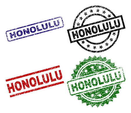 HONOLULU seal prints with corroded texture. Black, green,red,blue vector rubber prints of HONOLULU label with unclean texture. Rubber seals with round, rectangle, rosette shapes.