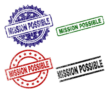 MISSION POSSIBLE seal prints with corroded surface. Black, green,red,blue vector rubber prints of MISSION POSSIBLE title with corroded texture. Rubber seals with circle, rectangle, medal shapes.