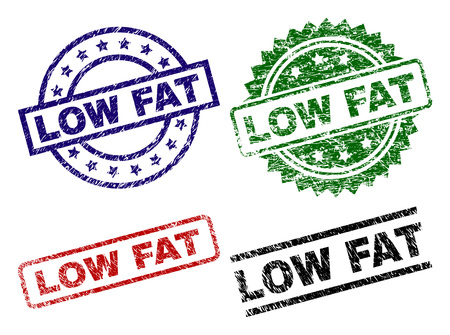 LOW FAT seal prints with distress surface. Black, green,red,blue vector rubber prints of LOW FAT text with retro surface. Rubber seals with circle, rectangle, medallion shapes.