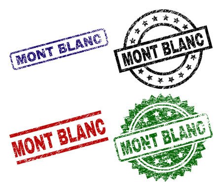 MONT BLANC seal prints with distress style. Black, green,red,blue vector rubber prints of MONT BLANC text with unclean style. Rubber seals with round, rectangle, medallion shapes.