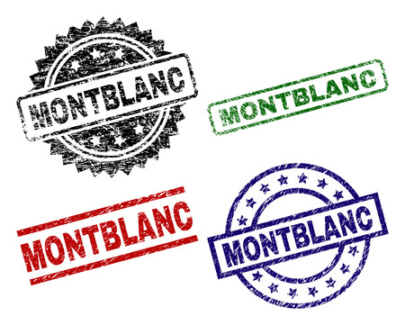 MONTBLANC seal prints with corroded style. Black, green,red,blue vector rubber prints of MONTBLANC tag with corroded style. Rubber seals with round, rectangle, medallion shapes.