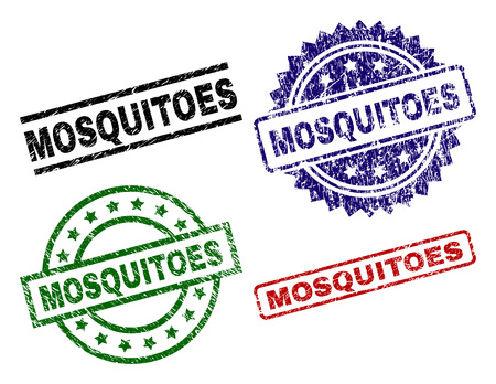 MOSQUITOES seal prints with distress surface. Black, green,red,blue vector rubber prints of MOSQUITOES title with dirty style. Rubber seals with circle, rectangle, medallion shapes. Illustration