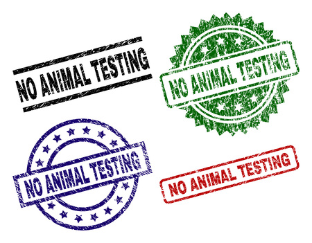 NO ANIMAL TESTING seal prints with corroded surface. Black, green,red,blue vector rubber prints of NO ANIMAL TESTING text with dust surface. Rubber seals with circle, rectangle, rosette shapes.