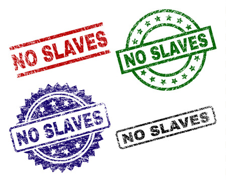 NO SLAVES seal stamps with corroded texture. Black, green,red,blue vector rubber prints of NO SLAVES caption with corroded surface. Rubber seals with round, rectangle, medallion shapes.