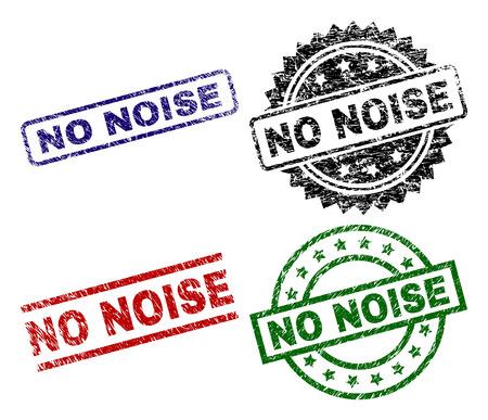 Le sceau NO NOISE imprime avec une texture corrodée. Impressions en caoutchouc vectorielles noires, vertes, rouges et bleues du texte SANS BRUIT avec une surface corrodée. Joints en caoutchouc aux formes rondes, rectangulaires, médaillons. Vecteurs