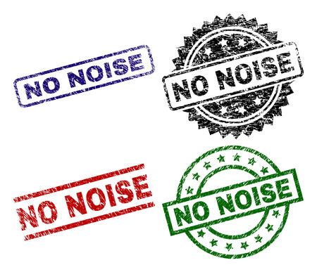 NO NOISE seal prints with corroded texture. Black, green,red,blue vector rubber prints of NO NOISE text with corroded surface. Rubber seals with round, rectangle, medallion shapes. Illustration