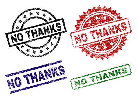 NO THANKS seal prints with distress style. Black, green,red,blue vector rubber prints of NO THANKS label with retro style. Rubber seals with round, rectangle, medal shapes. Vector Illustration