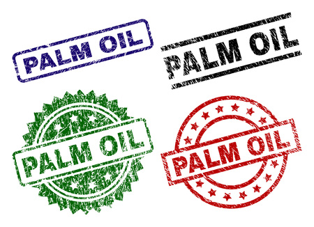 PALM OIL seal imprints with distress style. Black, green,red,blue vector rubber prints of PALM OIL title with scratched style. Rubber seals with round, rectangle, rosette shapes.
