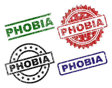 PHOBIA seal prints with distress style. Black, green,red,blue vector rubber prints of PHOBIA caption with corroded surface. Rubber seals with round, rectangle, medal shapes.