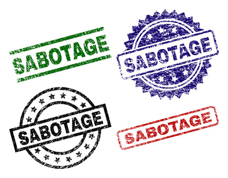 SABOTAGE seal prints with corroded texture. Black, green,red,blue vector rubber prints of SABOTAGE text with grunge texture. Rubber seals with circle, rectangle, rosette shapes.