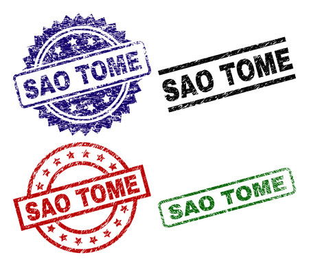 SAO TOME seal prints with corroded surface. Black, green,red,blue vector rubber prints of SAO TOME tag with corroded texture. Rubber seals with circle, rectangle, medallion shapes.
