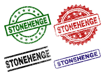 STONEHENGE seal prints with corroded style. Black, green,red,blue vector rubber prints of STONEHENGE text with corroded style. Rubber seals with round, rectangle, medal shapes.