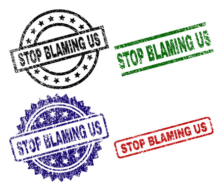 STOP BLAMING US seal prints with corroded texture. Black, green,red,blue vector rubber prints of STOP BLAMING US text with retro texture. Rubber seals with round, rectangle, medallion shapes.